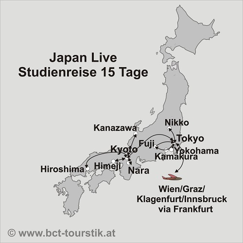 Karte Der Japan Rundreise